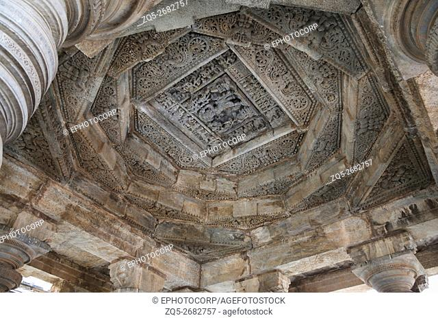 Intricately carved ceiling of Navaranga Mandapa, Parshvanatha Basadi, Basadi Halli jain temple complex, Karnataka, India