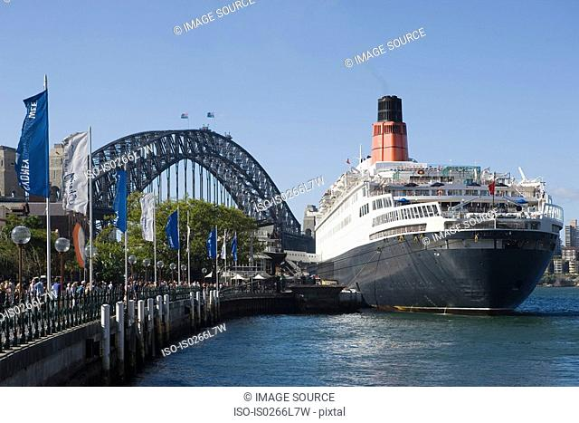 A cruise ship and sydney harbour bridge