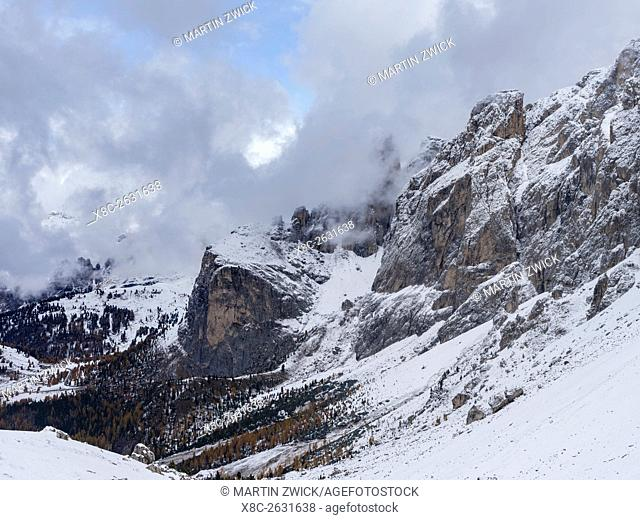 Sella mountain range in South Tyrol - Alto Adige during late fall. The Dolomites are listed as UNESCO World heritage. europe, central europe, italy, october