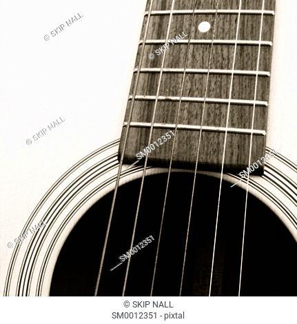 Closeup of an acoustic guitar