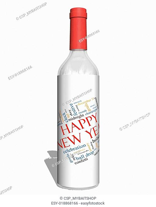 Happy New Year on a Bottle Word Cloud Concept
