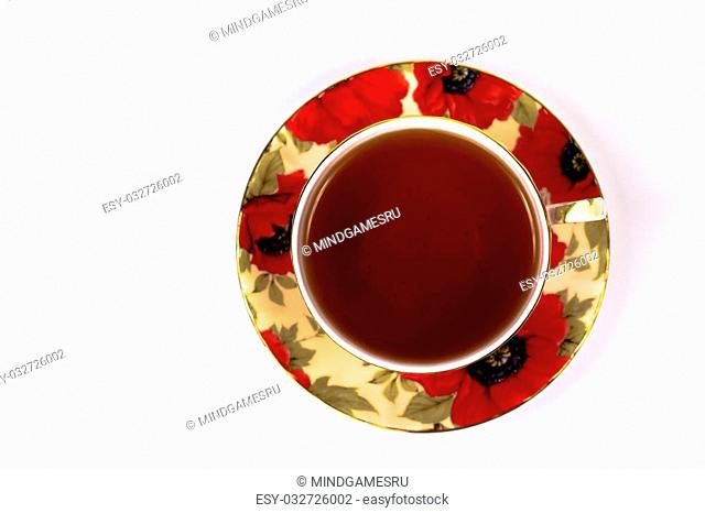 Cup of tea from above, isolated on white background
