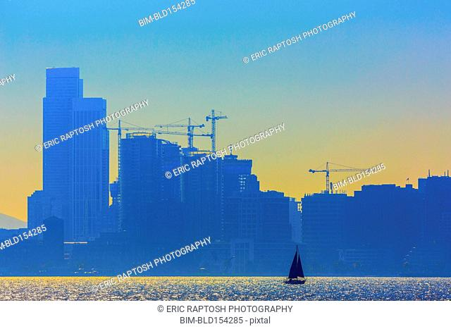 Silhouette of San Francisco city skyline over ocean, California, United States
