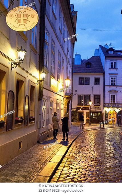 Mala Strana neighborhood at dusk, Prague, Czech Republic, Europe