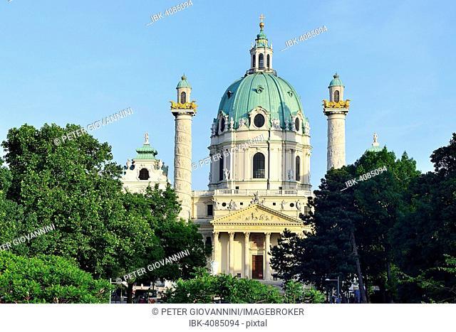 Resselpark with the baroque Karlskirche church designed by Johann Bernhard Fischer von Erlach, Karlsplatz square, Vienna, Austria