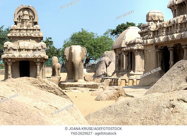 Pancha Rathas, Mahabalipuram, Kanchipuram, Tamil Nadu, India