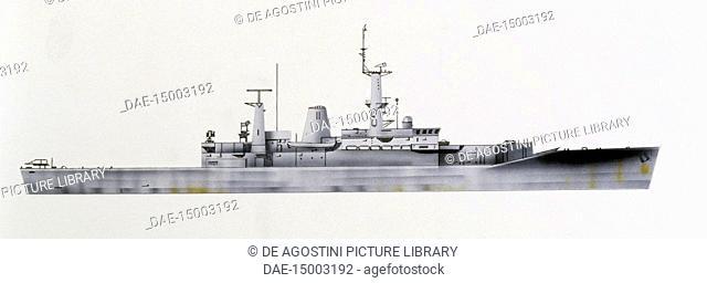 HMS Galatea frigate, 1963, United Kingdom, drawing