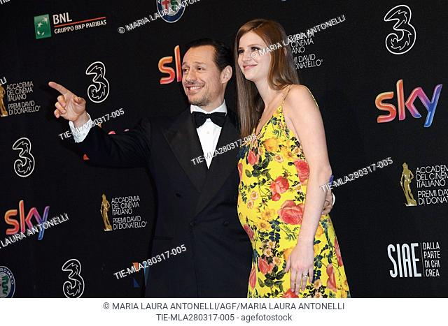 Stefano Accorsi and wife Bianca Vitali during the red carpet of David di Donatello Awards, Rome, ITALY-27-03-2017