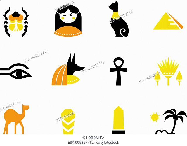 Egypt icons and design elements isolated on white ( back and orange )