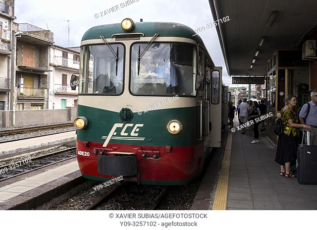 Train, Randazzo Station, Ferrovia Circumetnea, Catania, Sicily, Italy