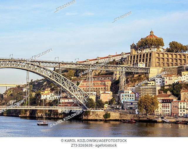 View towards Vila Nova de Gaia, Dom Luis I Bridge and Monastery of Serra do Pilar, Porto, Portugal