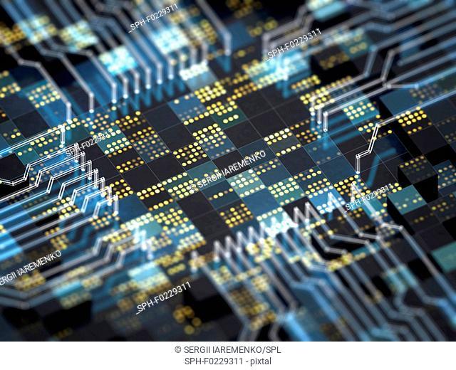 Circuit board with futuristic CPU, illustration