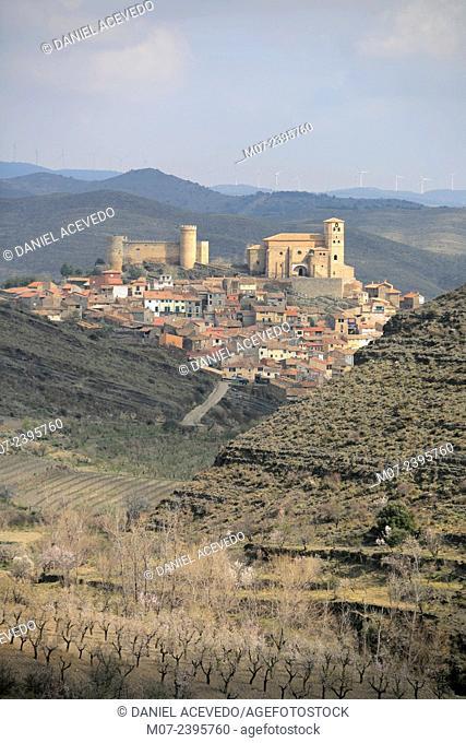 Cornago castle and village, Linares valley, Biosphere reserve, La Rioja baja region, Spain, Europe