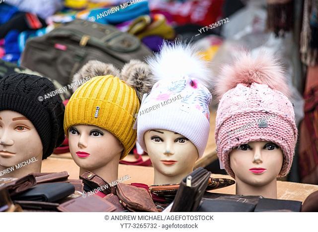 Mannequin heads with woolly hats at Vienna Naschmarkt Linke Wienzeile flea market antique market. Austria