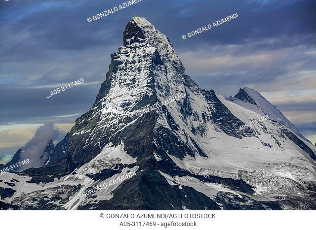 Matterhorn mountain peak. Cervino mountain peak. Zermatt. Swiss Alps . Valais. Switzerland. Europe