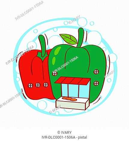Illustration of red and green bell pepper