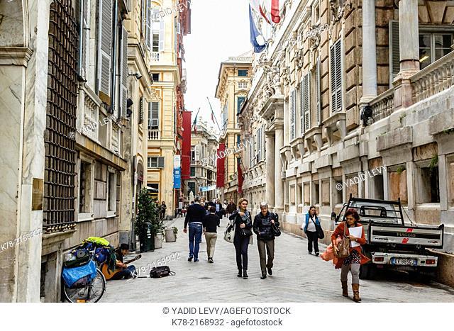Via Garibaldi street in the old city, Genoa, Liguaria, Italy
