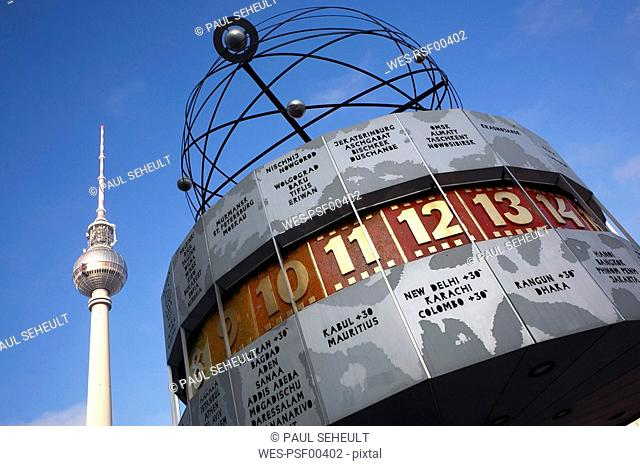 Germany, Berlin, TV Tower and World Clock, low angle view