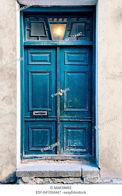 Old blue doors in the old town of Tallinn Estonia