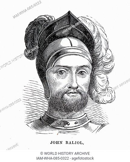 Engraved portrait of John Balliol (1249-1314) King of Scots. Dated 13th Century