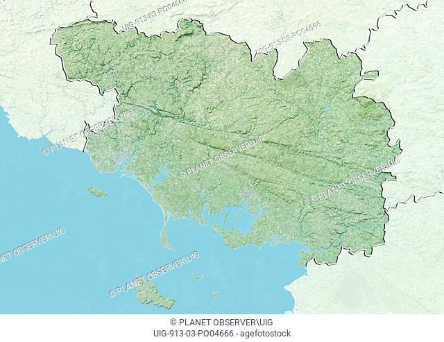 Departement of Morbihan, France, Relief Map