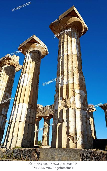 Greek Dorik columns at the ruins of Temple F at Selinunte, Sicily