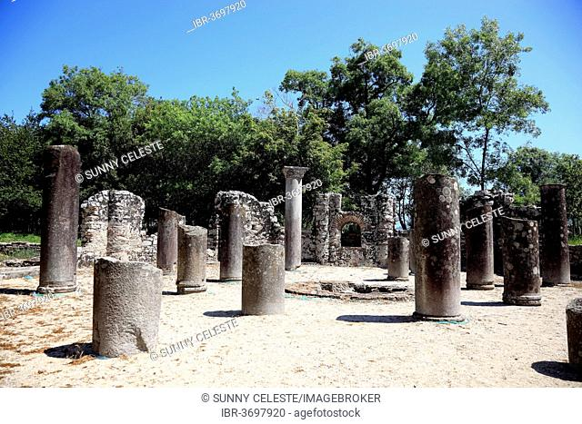Baptistery from the 6th century in the ruins of the ancient city of Butrint, UNESCO World Cultural Heritage Site, Butrint, near Saranda, Vlorë County, Albania