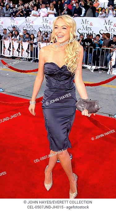 Lindsay Lohan at arrivals for Mr. & Mrs. Smith Premiere, Mann Village Theater, Los Angeles, CA, June 07, 2005. Photo by: John Hayes/Everett Collection