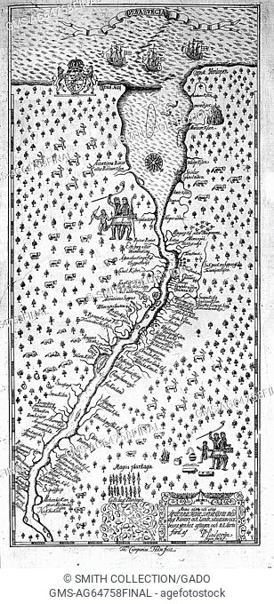 Nova Svecia, a map of Swedish settlements along the Delaware River, 1696. From the New York Public Library