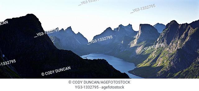 View from Reinebringen over mountains of Moskenesoya, Lofoten islands, Norway
