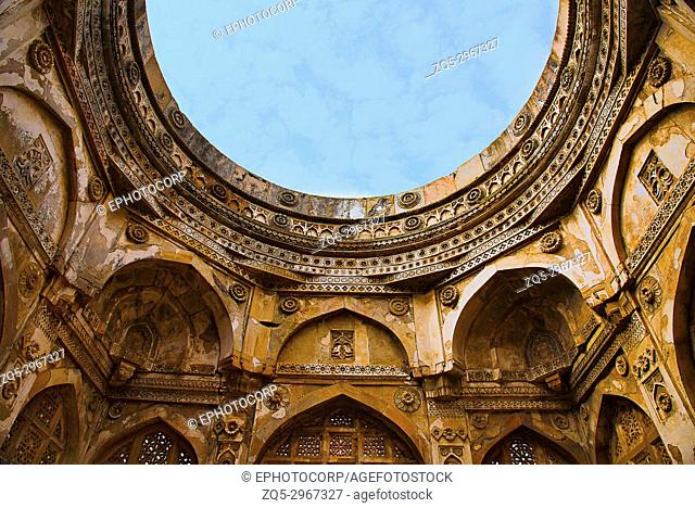 Partial view of carved large dome built over a podium, Jami Masjid (Mosque), UNESCO protected Champaner - Pavagadh Archaeological Park, Gujarat, India
