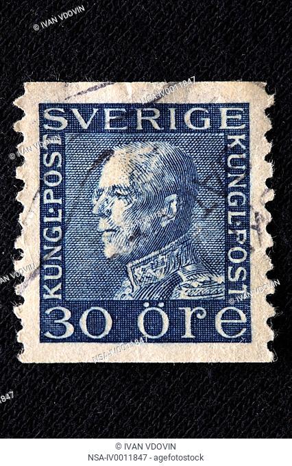 Gustaf V, King of Sweden 1907-1950, postage stamp, Sweeden