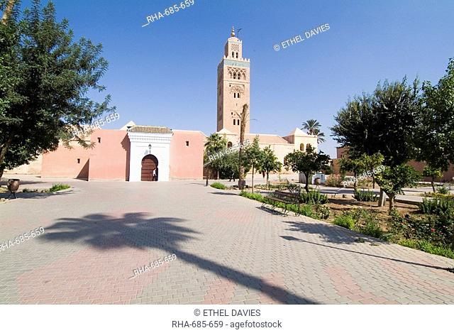 Koutoubia minaret Booksellers Mosque, Marrakech, Morocco, North Africa, Africa