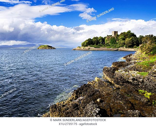 Dunollie Castle overlooking Maiden Island Oban Argyll and Bute Scotland