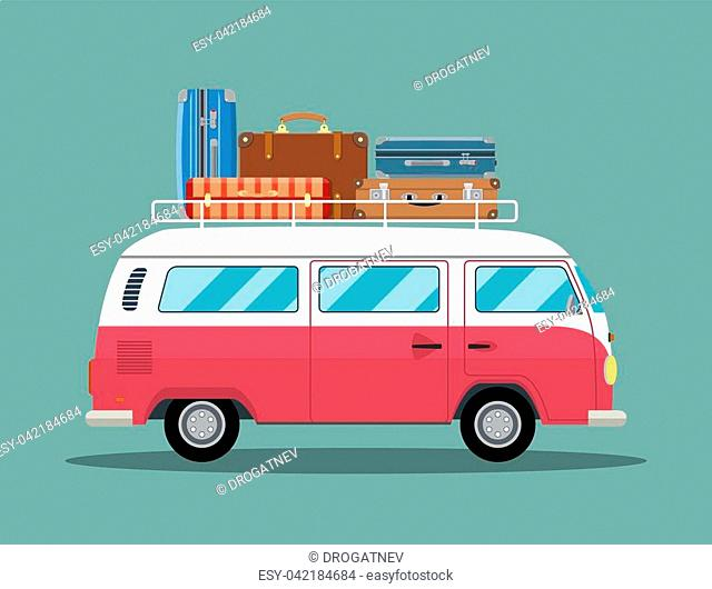 retro travel van car with bag on roof. vector illustration in flat design