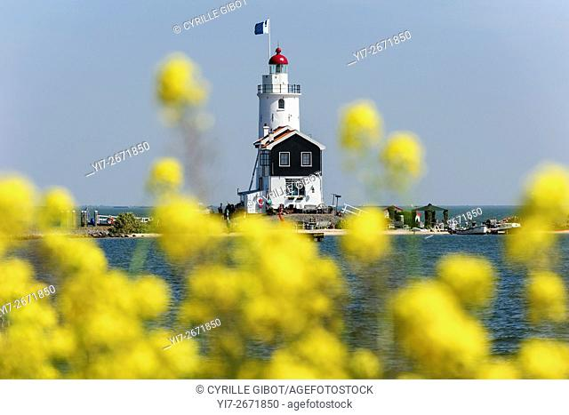 Lighthouse on the Ijsselmeer, Marken, North Holland, the Netherlands