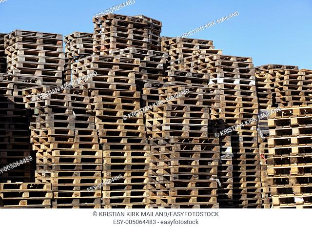 Stack of wooden EUR pallets