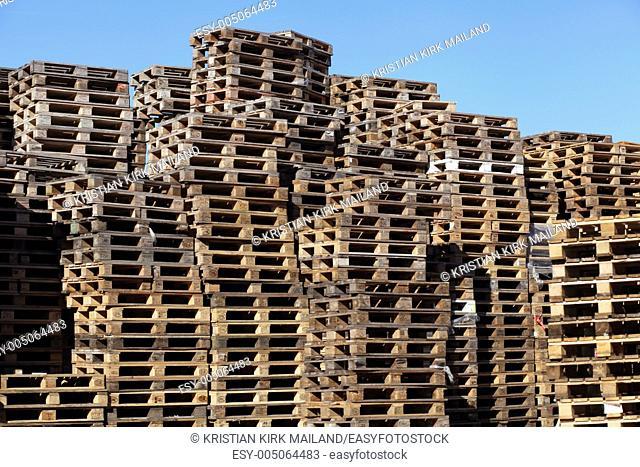 Stack of wooden EUR pallets