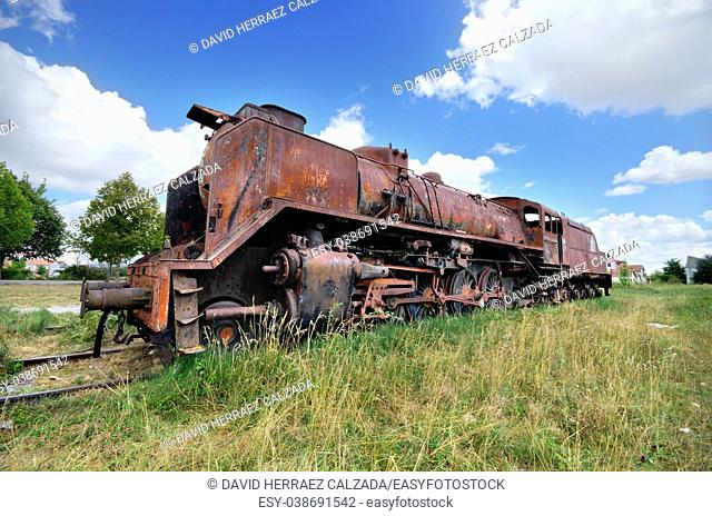 old ruined steam locomotive