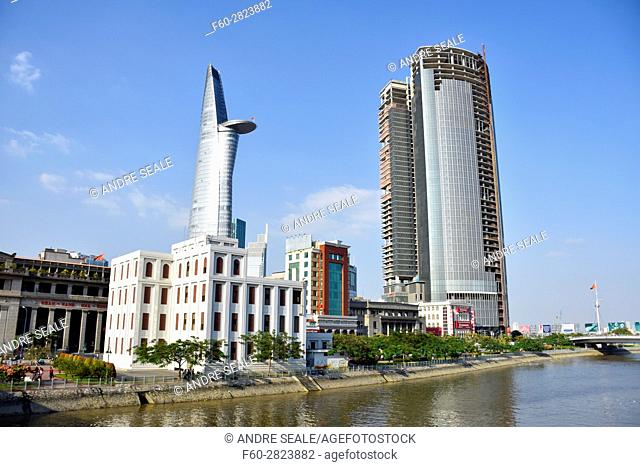 Bitexco Financial Tower viewed from the Saigon River, Ho Chi Minh City, Vietnam