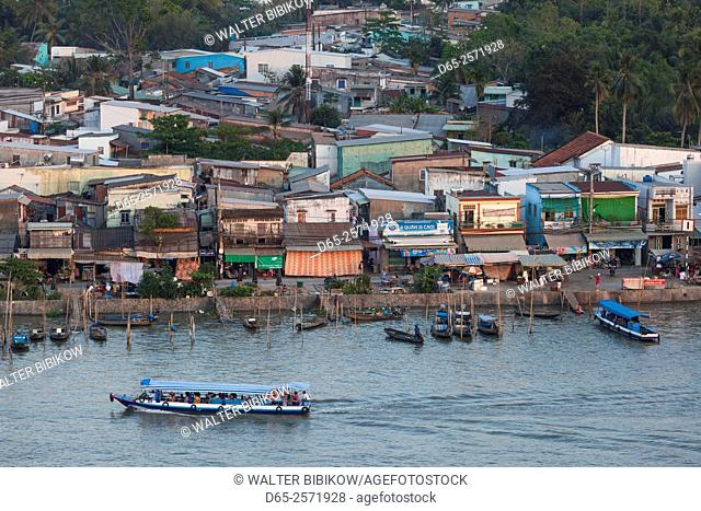 Vietnam, Mekong Delta, Can Tho, elevated view of the East Bank of the Can Tho River, late afternoon