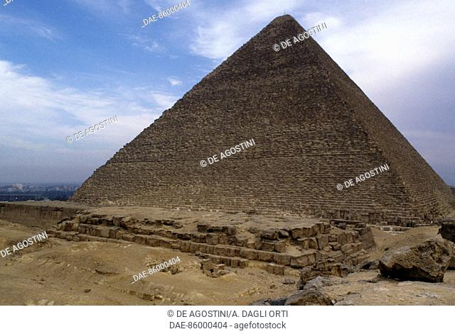 The Pyramid of Cheops, Giza Necropolis (UNESCO World Heritage List, 1979), Egypt. Egyptian civilisation, Old Kingdom, Dynasty IV