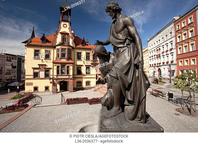 Nowa Ruda (german Neurode) town in Lower Silesia region. Poland. The Town hall and houses in the Market Square