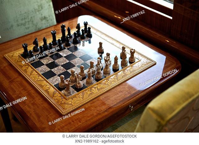 Chess Set On Luxury Yacht