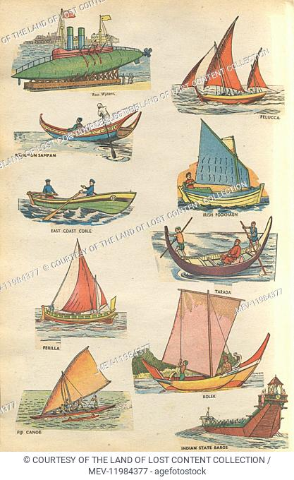 Queen's Silver Jubilee 1977 souvenir cuttings book by IVP Ltd., London showing images of different types of indigenous small boats used mainly for fishing as...