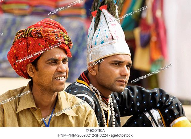 Two men in traditional dress at Surajkund Mela, Faridabad, Haryana, India