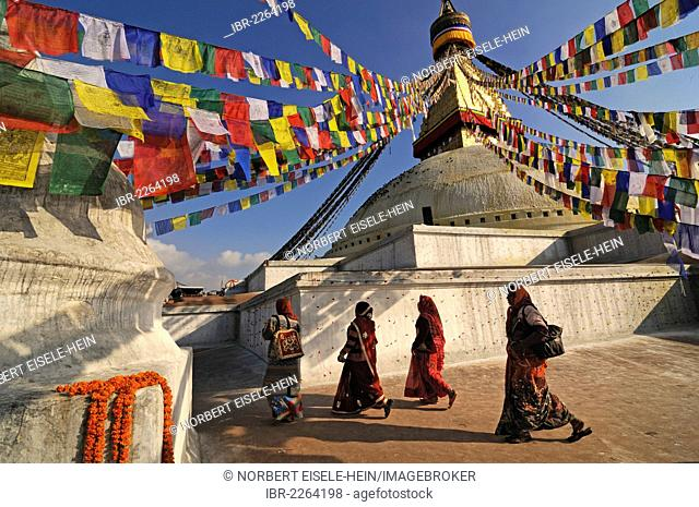 Prayer flags at Boudhanath Stupa, Kathmandu, Kathmandu Valley, UNESCO World Heritage Site, Nepal, Asia