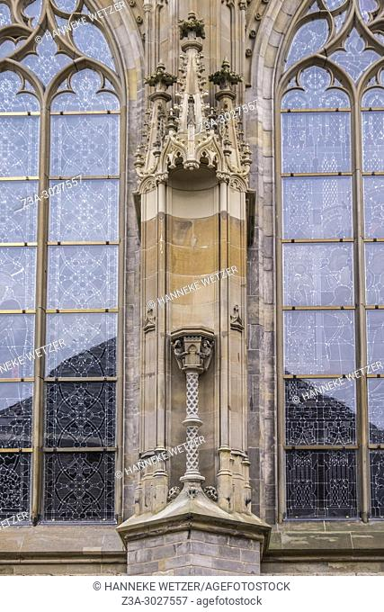 Empty space of the Hieronymus statue (in restoration) at the north side of the Cathedral Basilica of St. John the Evangelist, 's-Hertogenbosch, the Netherlands