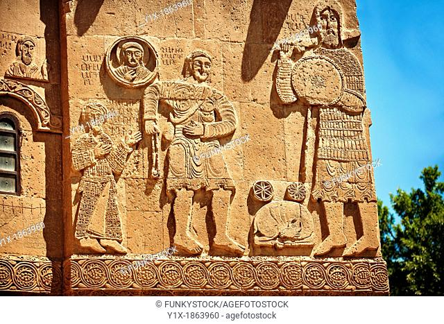 Bas Releif sculptures with scenes from the Bible on the outside of the 10th century Armenian Orthodox Cathedral of the Holy Cross on Akdamar Island