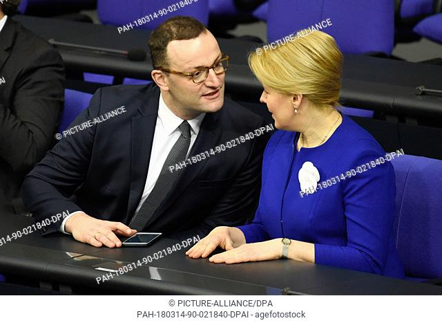 14 March 2018, Germany, Berlin: Jens Spahn of the Christian Democratic Union (CDU), German Minister of Health, and Franziska Giffey of the Social Democratic...